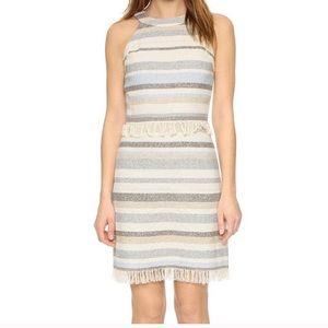 Tory Burch Size 6 Jane Striped Woven Halter Dress